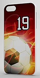 Flaming Soccer Sports Fan Player Number 19 White Plastic Decorative iPhone 6 PLUS Case