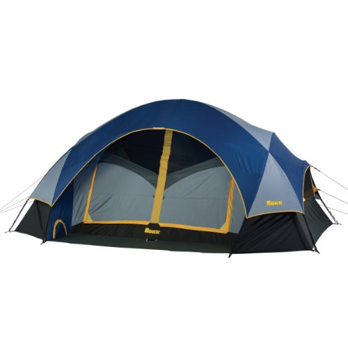 Rokk Palisade Two Room Family Dome Tent Sleeps Up To 8 (Blue/Grey), Outdoor Stuffs