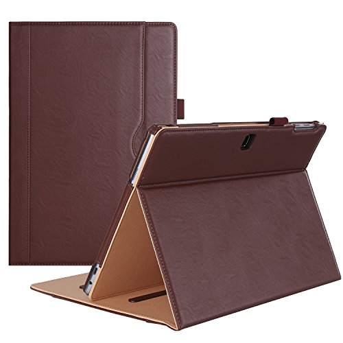 ProCase Galaxy TabPro S Case, Leather Stand Folio Case Cover for Galaxy TabPro S 12 2-in-1 Tablet 2016, with Multiple Viewing Angles, Document Card Pocket (Brown)