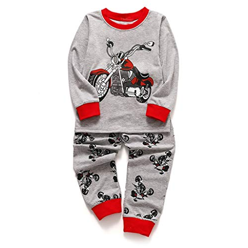 Drindf Baby Clothes 2Piece Toddler Kids Cartoon Motorcycle Printed Long Sleeve Top +Pants Pajamas Set Sleepwear Outfit ()