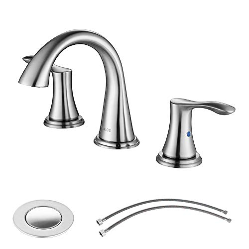 Widespread 2 Handles Bathroom Faucet with Pop Up Sink Drain and cUPC Faucet Supply Lines, Brushed Nickel, Demeter 13647