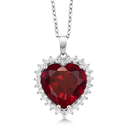 Gem Stone King 7.35 Ct 925 Sterling Silver Created Ruby Pendant Necklace With Complimentary 18 Inch Silver Chain