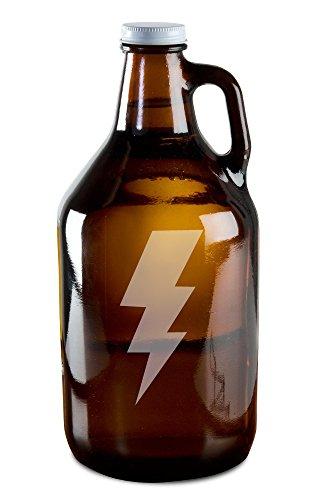 Extreme Lightning Bolt Hand-Made Etched Glass Beer Growler 64 oz