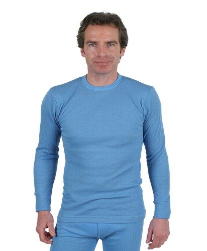 3er Pack Männer Thermo-Unterwäsche - Runder Auschnitt - langärmliches Unterhemd blau, klein