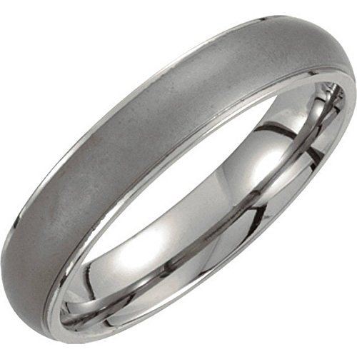 Titanium and Matte Grey 5mm Comfort Fit Oxidized Dome Band Size 10 by The Men's Jewelry Store