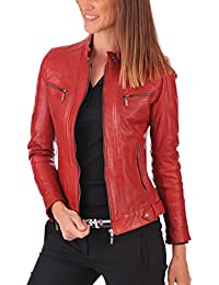 Womens Lambskin Leather Bomber Biker Jacket - Winter Wear - Extremely Soft & Smooth