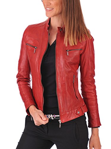 Leather Planet Women's Lambskin Leather Bomber Biker Jacket Red