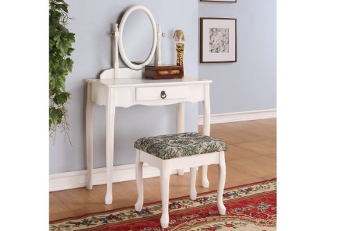 White Finish Wooden Vintage Looking Vanity with Bench - Walnut Vanity Vintage Cabinet