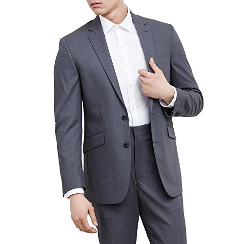 Kenneth Cole REACTION Men's Grey Solid Suit Separate Jacket, Gray, 44 L -