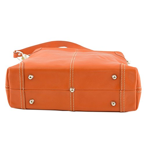 Leather Woman Woman Bag Italy Bag Shoulder Made Color Leather Orange Tuscan In vITIqS