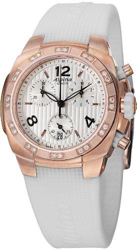 Alpina Avalanche Chronograph Womens White Rubber Strap Rose Gold Plated Diamond Watch AL-350LWWW2AD4