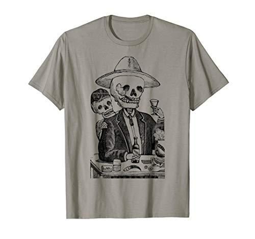 Mintage Tequila Drinking Skeleton Fine Jersey T-Shirt]()