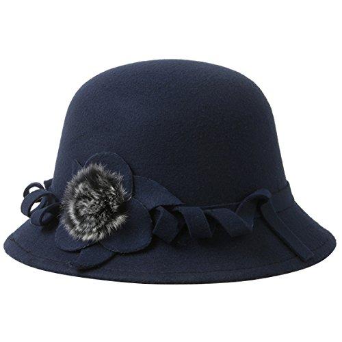 EUBUY Women Vintage Wool Felt Bowler Hat Winter Fedora Hat Floppy Hat Wide Brim Cloche Hat Derby Cap Navy Blue Women Bowlers