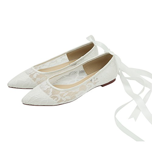 Ivory Bride Ivory Lace Tie ERIJUNOR Wedding Pointed Comfort Toe Ribbon Women Shoes for Flats qTq74
