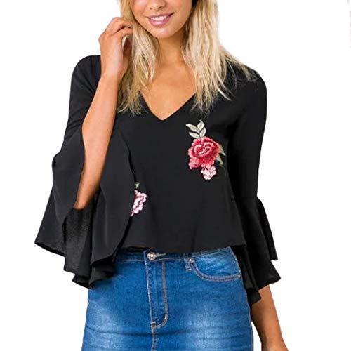 Fashion Women Floral Printed V-Neck Backless Three Quarter T-Shirt Blouse Black
