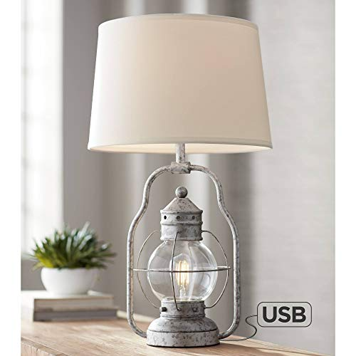 Bodie Rustic Industrial Table Lamp with USB Charging Port Nightlight Antique LED Edison Distressed Silver Off White Linen Shade for Living Room Bedroom Bedside Nightstand Office - Franklin Iron Works