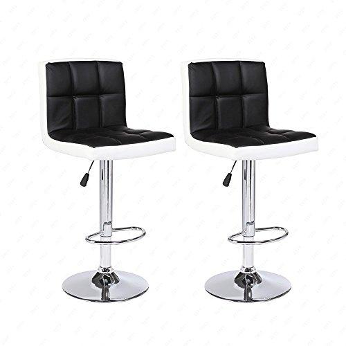 DFM Mordern Leather Adjustable Bar Stools Swivel Pub Chair (Set Of 2) Black and White