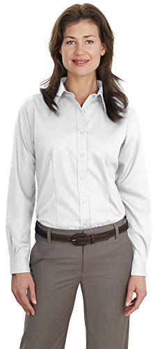 Port Authority Ladies Long Sleeve Non-Iron Twill Shirt, White, XX-Large