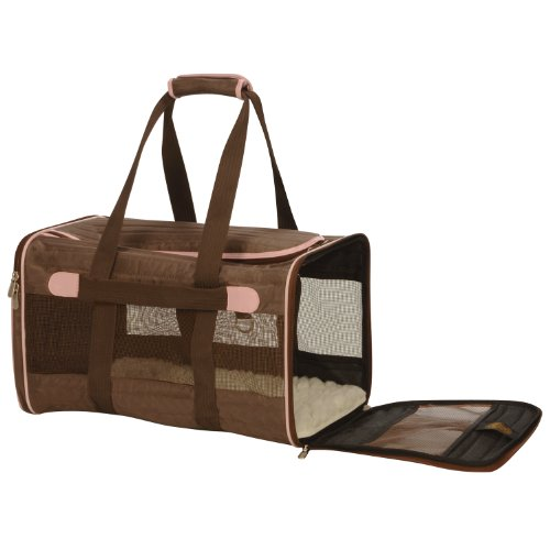 Sherpa 55538 Original Deluxe Pet Carrier, Large, Brown with Pink Trim, My Pet Supplies