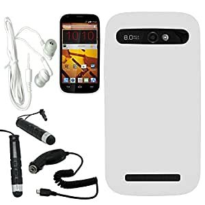 [ARENA] FULL WHITE SILICONE SKIN COVER FITTED SOFT GEL CASE for ZTE GRAND S PRO + FREE ARENA ACCESSORY KIT