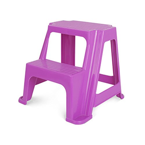 KICCOLY 2 Step Transitions 2 Step Stool, Boys Step Stool Molded Plastic Stool with Non-Slip Step Treads, 200-Pound Capacity Bathroom Step Stool(Purple) (Plastic Treads)