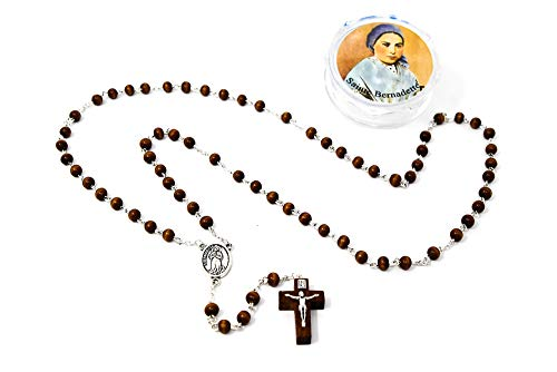 St Bernadette Rosary Beads with Rosary Box From Lourdes, Catholic ()