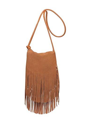 Ferbia Womens Crossbody Shoulder Bag Suede Faux Leather Purse Small Fringe Tassel ()