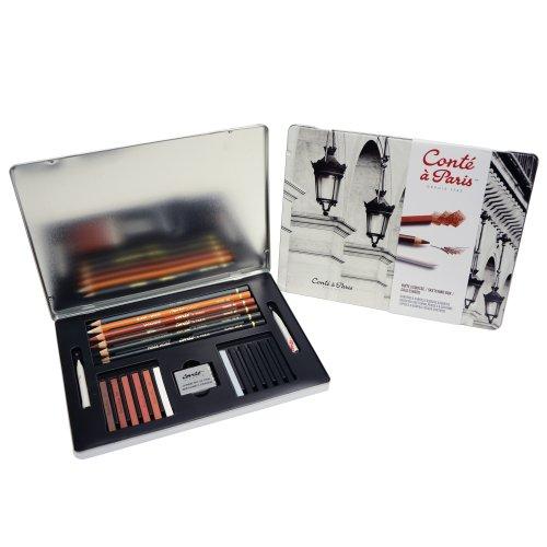 Conté à Paris 500397 Boîte de 6 Crayons Esquisses 12 Esquisses Carrés + 2 Tortillons + Gomme Mie de Pain Couleurs Assorties