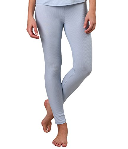 Spandex Stretch Sleep Pant (Naked Womens Pima Cotton Rib Henley Sleep Pant,Powder Dusk,Large)
