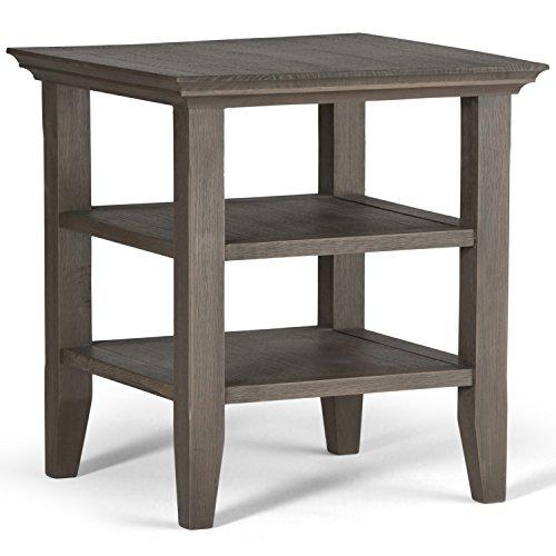 Simpli Home Acadian Solid Wood End Side Table, Farmhouse Grey (Farmhouse Wood Table)