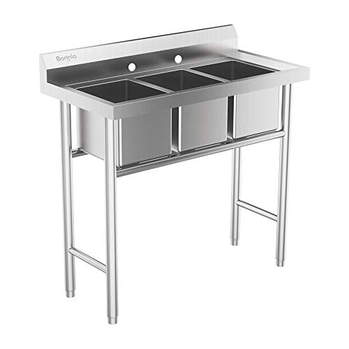 Compartment Bar Sink - Bonnlo 3-Compartment 304 Stainless Steel Utility Sink Commercial Grade Laundry Tub Culinary Sink for Outdoor, Indoor, Garage, Kitchen, Laundry/Utility Room