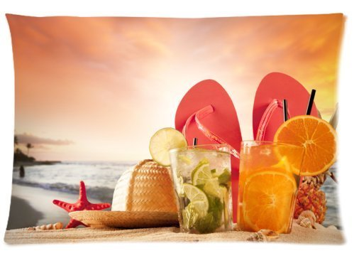 Fabulous Store Cutsom Rectangle Hawaii Summer Beach Wonderful Relaxing Time Pillow Cases Covers Standard Size 20x30(one side) by Pillow Case 20x30(one side)