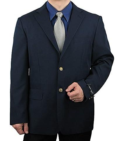 Men's 2-Button Single-Breasted Dress Blazer w/Brass Buttons - Navy 56R - Breasted Navy Blazer