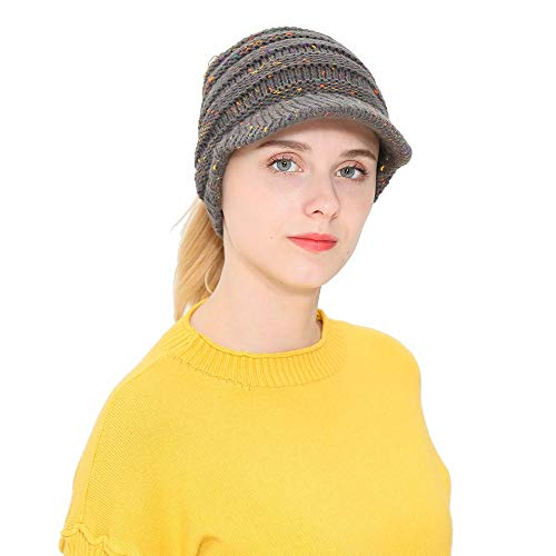 Teresamoon Women Men Autumn Winter Beanie Hat Knitting Wool Baseball Cap Earmuffs Hat