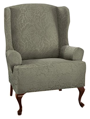 - Stretch Sensations 849203036481 Stretch Floral Wing Chair Slipcover, Sage