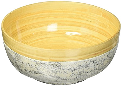 Bodhi Tree Collections Spun Bowl with Inlaid Eggshell, Small, Natural Bamboo, Black & ()