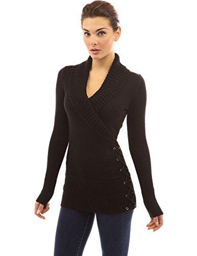 PattyBoutik Women Shawl Collar Faux Wrap Lace Up Sweater (Black X-Small)