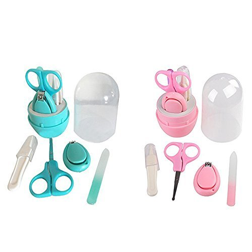 Baby Manicure Set, Safety Baby Nail Clippers Set with Scissors and File, The Best Unique Baby Shower Gift Xmas Presents, 2 Set