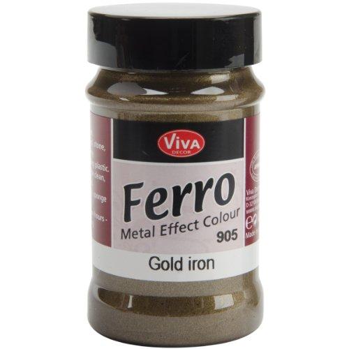 Viva Decor 3-Ounce Ferro Metal Effect Textured Paint, Iron Gold