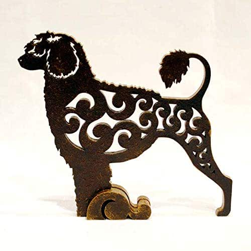 MDF statuette hand-painted White Poodle dog figurine dog statue made of wood