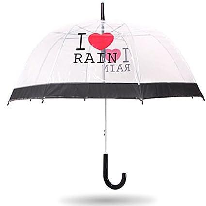 Paraguas transparente paraguas transparente paraguas (PATRÓN : I Love The Rain)