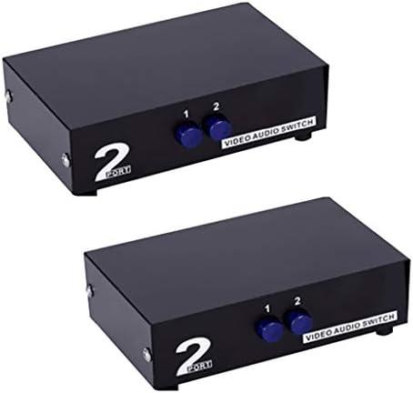 P Prettyia 2ピース2ウェイ3-rcaオーディオビデオavスイッチスイッチャー入力セレクタボックススプリッタ