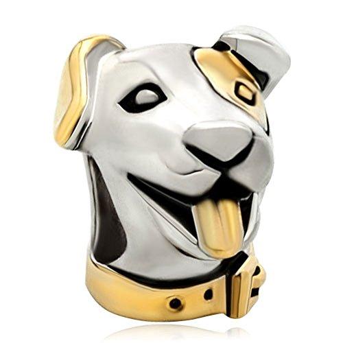 Pugster 22k Gold Silver Cute Puppy Dog Head Animal Bead Fits Pandora Charm Bracelet ()