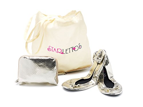 Foldable Ballet Flats - Cinderella Crystal Slippers to Carry You and Your High Heels Home Safely - Includes Ingenious Carry Pouch That Opens Into a Shoe Carrier (Large, Champagne)]()