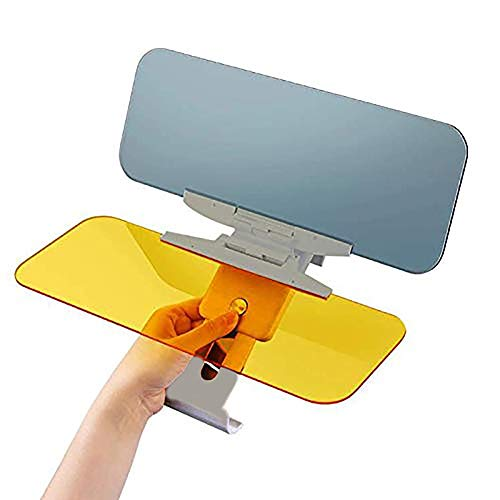 Marialove Car Sun Visor, [Upgrade] Automobile Windshield Visor, 2 in 1 Anti-Glare Visor Day and Night Car Visor Extender, HD Anti-Glare Dazzling Goggle Day Night Mirror Vision (Gray Base)