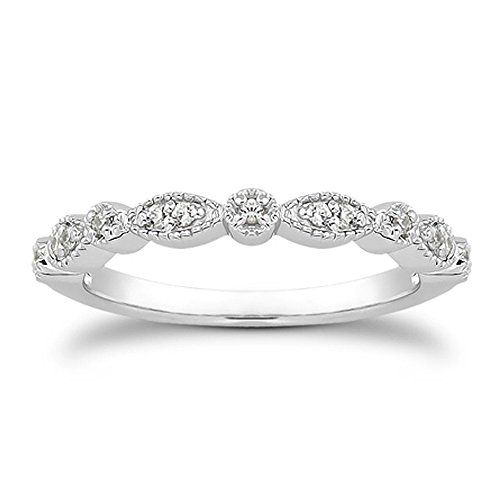Rhodium Plated Sterling Silver Band (Milgrain Marquise & Round Cubic Zirconia Eternity Ring Stacking Infinity Wedding Band Sterling Silver Platium Plated Size 8)