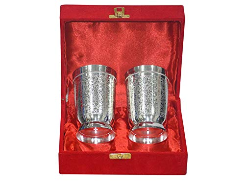 - Annanya Creations Silver Plated Brass Water & Soft Drink Glasses 4 Inches (Set of 2)