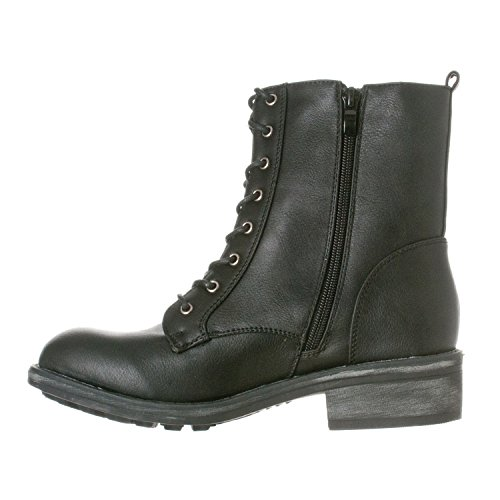 Riverberry Women's Zoe Mid-Calf Military Lace Up Combat Boots - stylishcombatboots.com