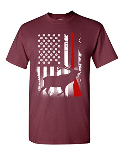Deer Antlers Gun Hunting American Flag Patriotic DT Adult T-Shirt Tee (XXXX Large, Maroon)