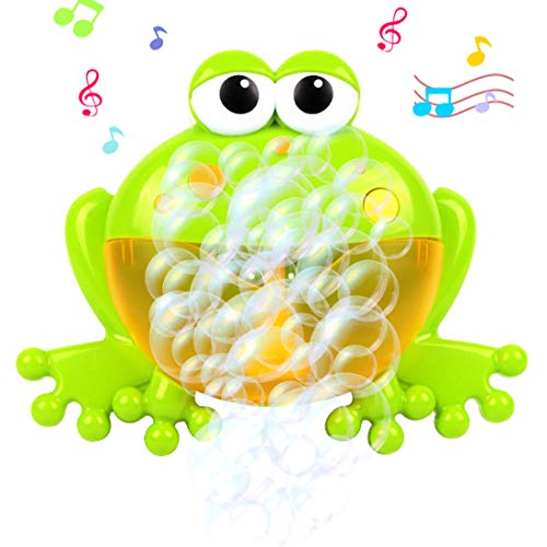 Uuna Baby Bubble Machine Bath Bubble Toy Frog Bubble Maker Bubble Blower with 12 Music Song Bathtub Bubble Toys for Infant Baby Kids Children Happy Tub Time, Bubble Bath Toys for Boys Girls Gift